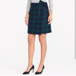 J.Crew Navy Green Plaid Wool Wrap Skirt 8